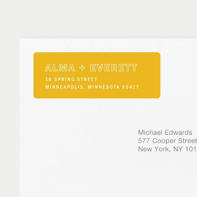 Color Up Wedding Return Address Labels - Yellow