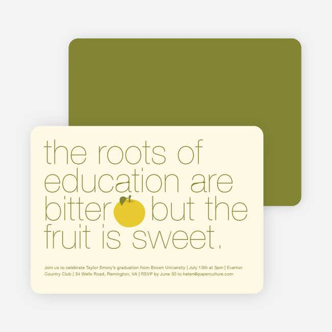 Graduation Fruit Invitations - Orange Sherbert