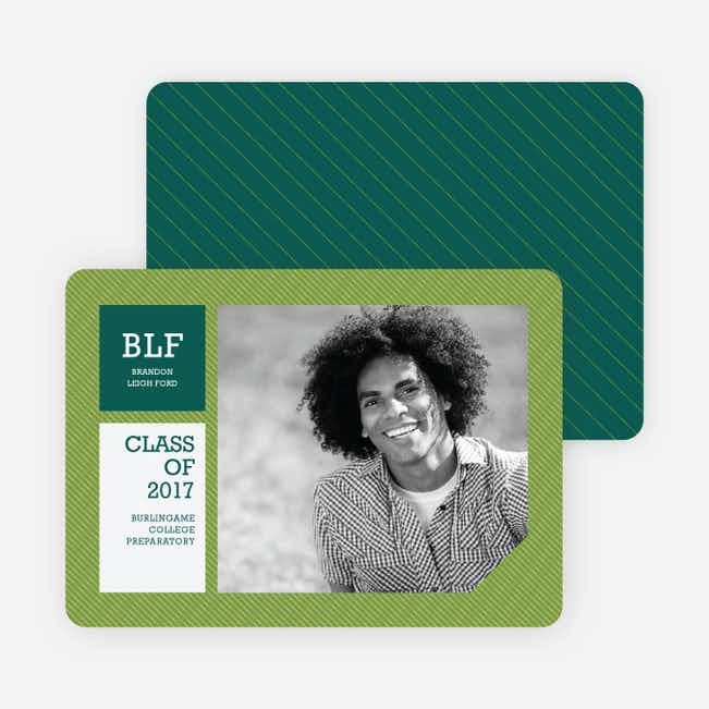 Graduation Stripes Graduation Announcements - Lime