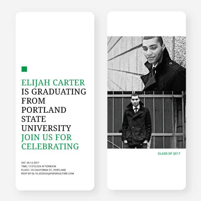 Simply Classic Graduation Invitations - Green