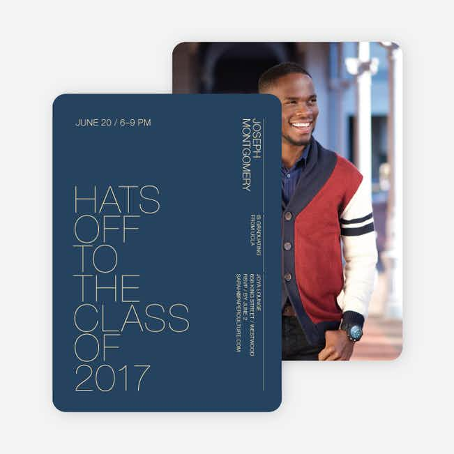 Hats Off Graduation Announcement and Invitation - Sapphire
