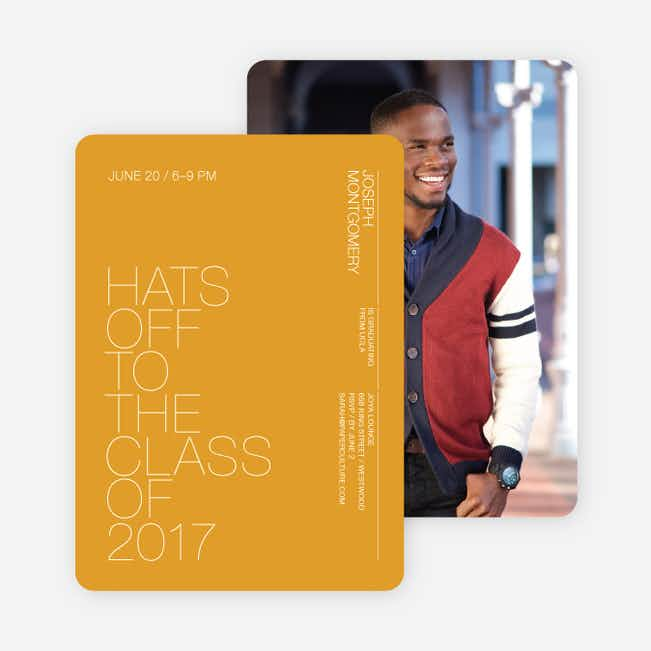 Hats Off Graduation Announcement and Invitation - Bright Yellow