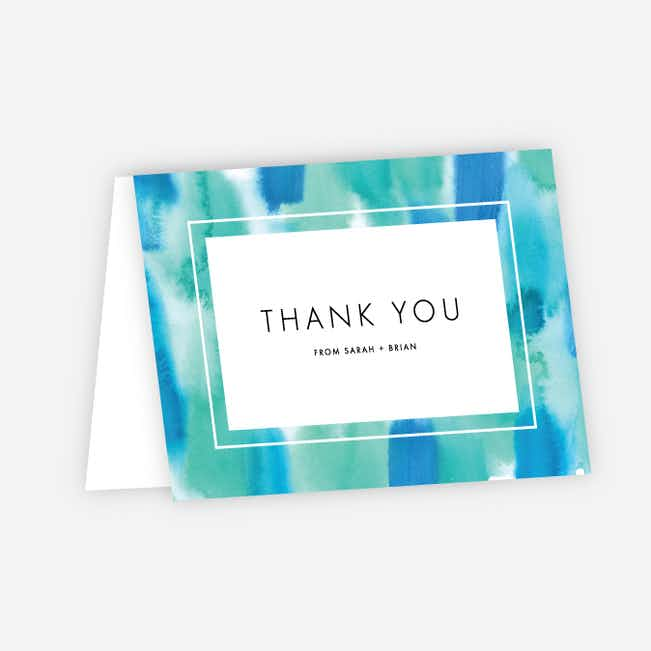 Infused Watercolors Wedding Thank You Cards - Green