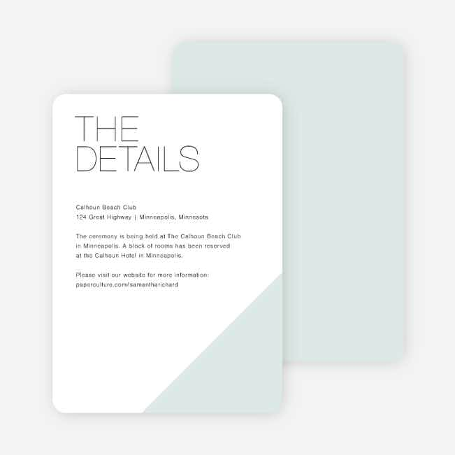 Cornerstones of Bliss Wedding Direction Cards - Blue