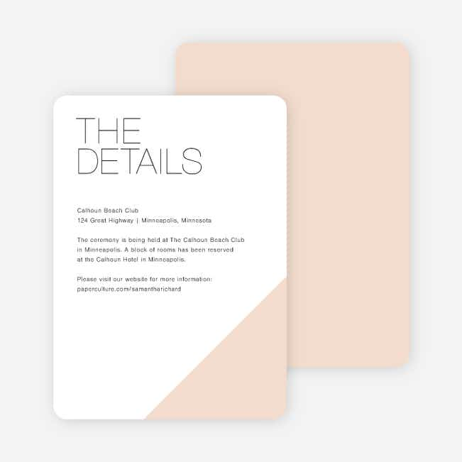 Cornerstones of Bliss Wedding Direction Cards - Pink