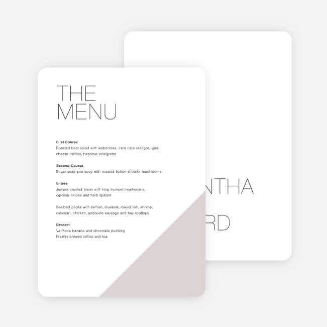 Cornerstones of Bliss Wedding Menus - Gray