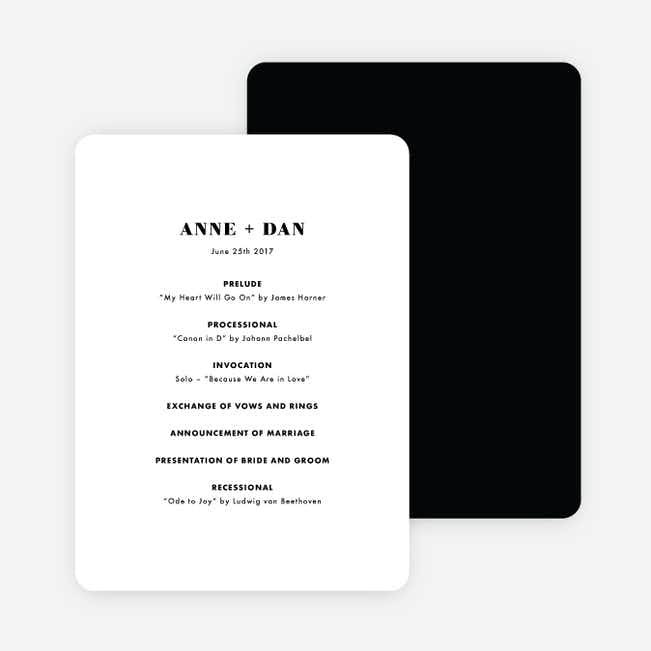 Simply Type Wedding Programs - White