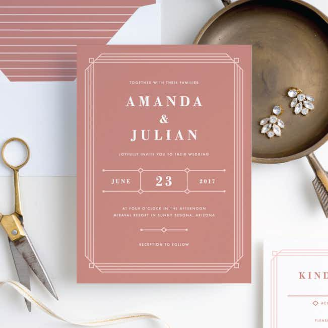 Art Deco Wedding Invitations - Pink