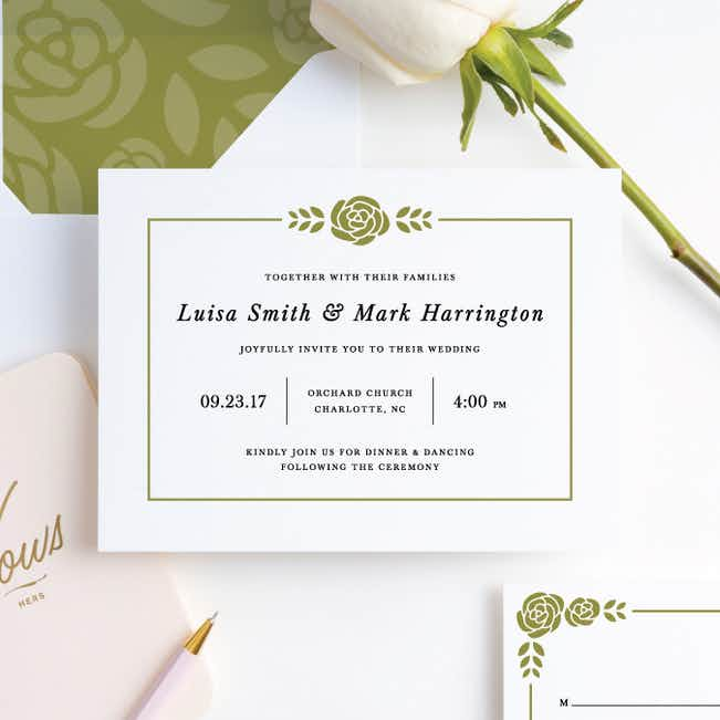 Coming Up Roses Wedding Invitations - Green