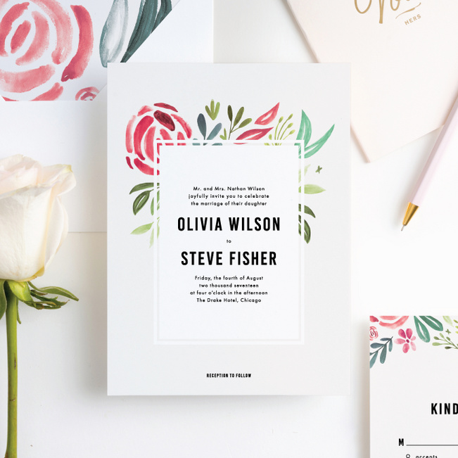 Getting Married Floral Invitation: Strokes Of Floral Wedding Invitations