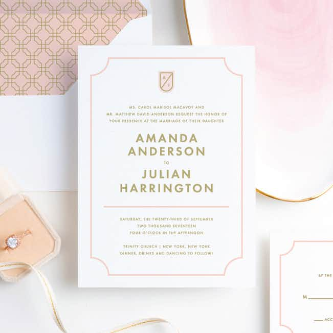 Tomorrow's Crest Wedding Invitations - Pink