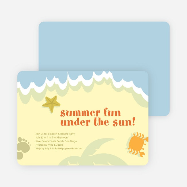 Beach Themed Summer Party Invitations Paper Culture