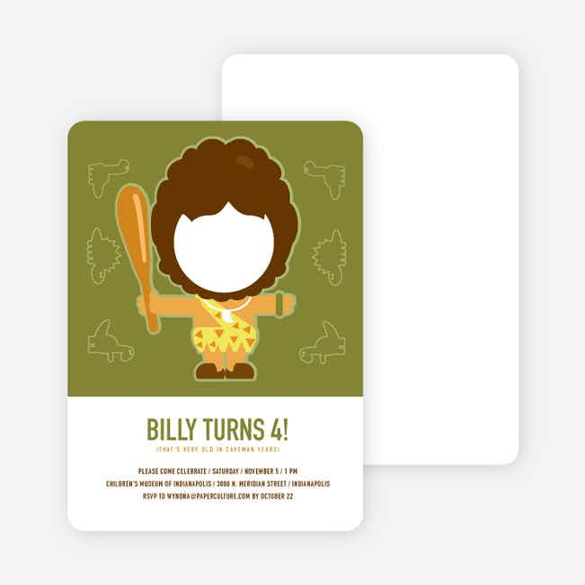 Caveman Invitations: Not Fred Flintstone - Green
