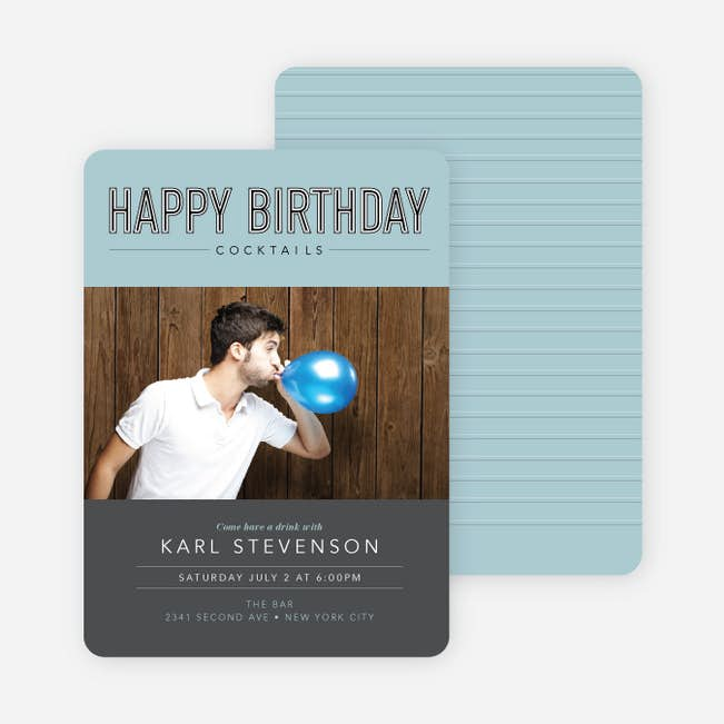 Cocktail Themed Birthday Party Invitations