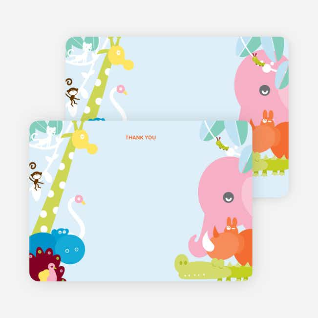 Thank You Card for Where the Wild Things Live Birthday Invitation - Cotton Candy