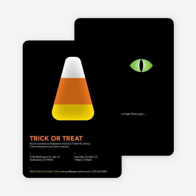 Trick or Treat Candy Corn Halloween Invitations - Orange