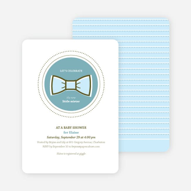The Bowtie And The New Little Mister Baby Shower Invitations Paper Culture