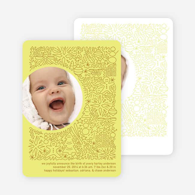 Holiday Baby Announcements: Spirit of the Holidays - Neon Yellow