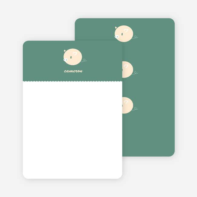 Personal Stationery for Darn Cute Piggy Baby Announcement - Dark Sage