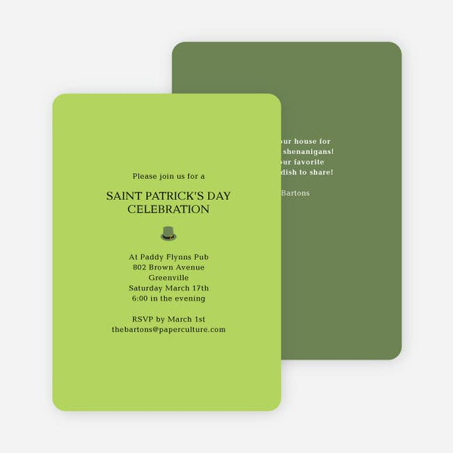 simple st patrick s day invitations paper culture