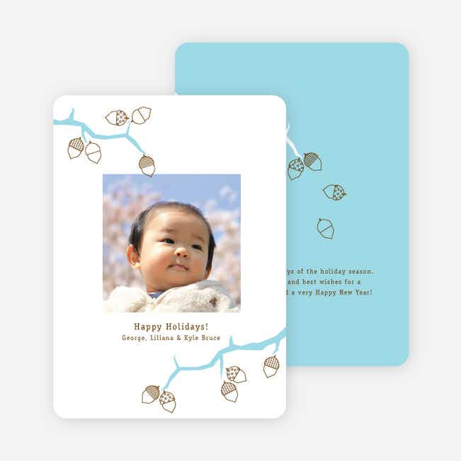 Acorns and the Circle of Life Holiday Photo Cards - Aquamarine