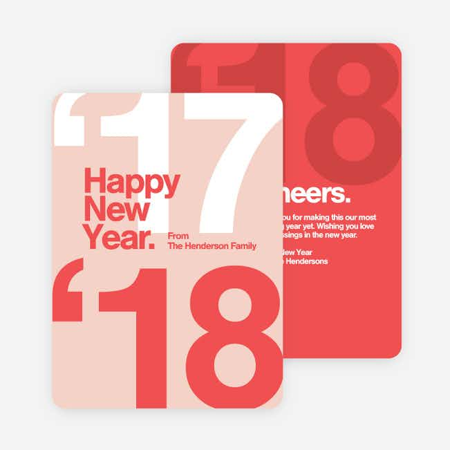Best Wishes New Year Cards - Red