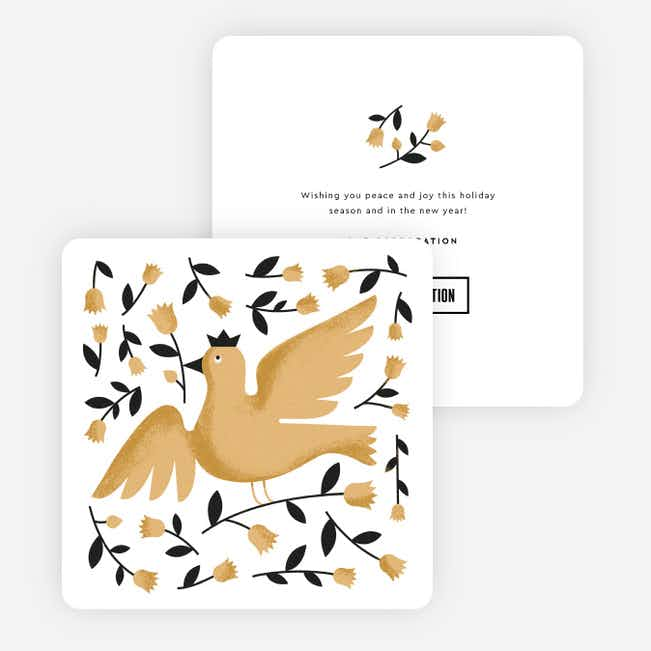 Dove Wishes Corporate Holiday Cards - Beige