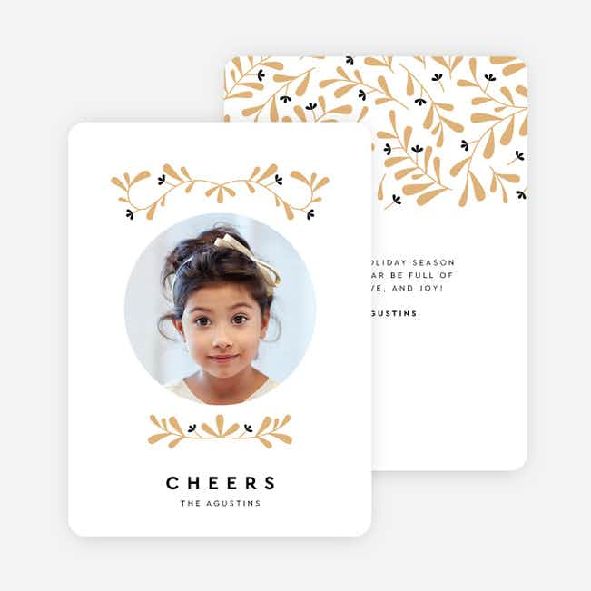 Floral Around Holiday Cards - Beige