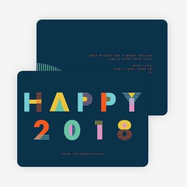 Colorblock Type New Year Cards - Blue