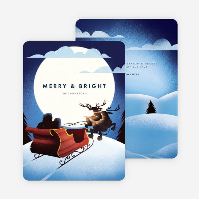 Peaceful Sleigh Christmas Cards - Blue