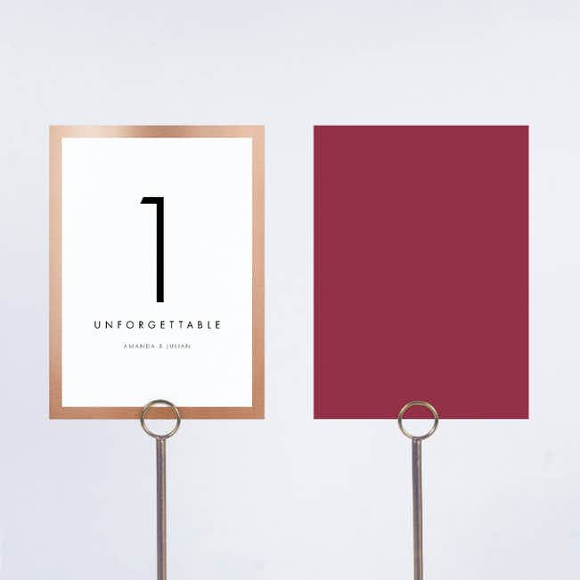 Wedding Frame of Mind Wedding Table Cards - Red