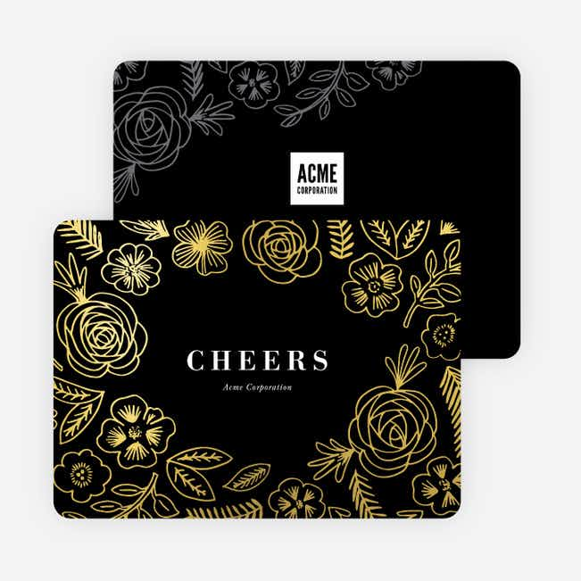 Foil Floral Fun Company Holiday Cards - Black