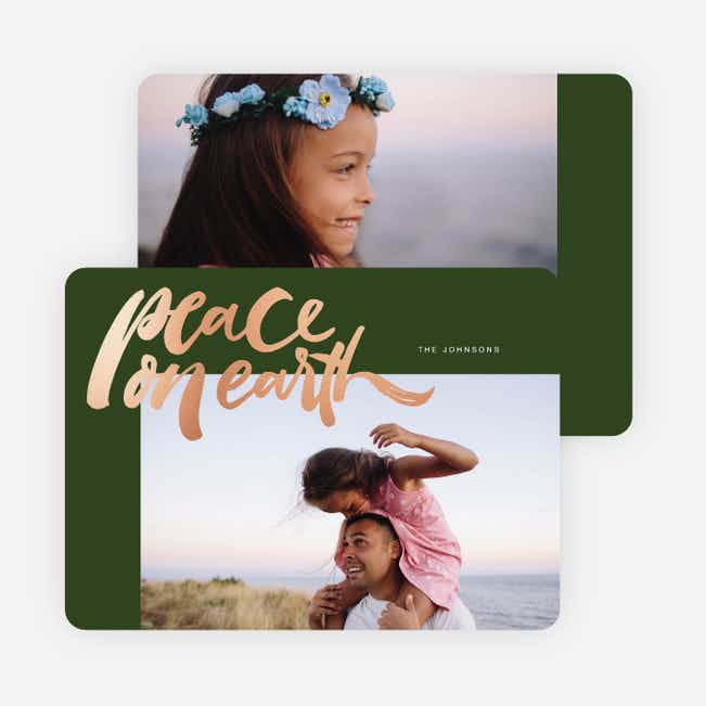 Foil Peace on Earth Holiday Cards - Green