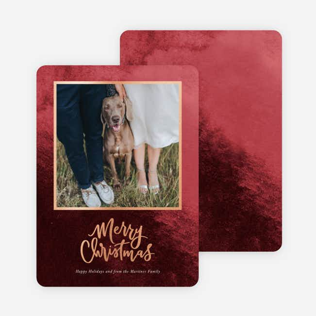 Foil Watermark Christmas Cards - Red