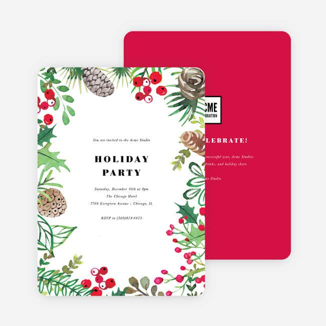 Framed Foliage Corporate Holiday Invitations - Red