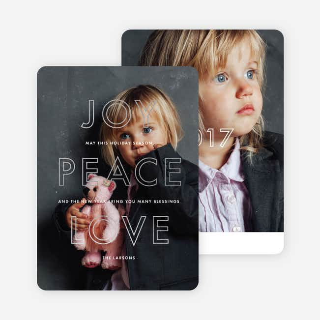 Foil Love Outlines Photo Holiday Cards - Gray
