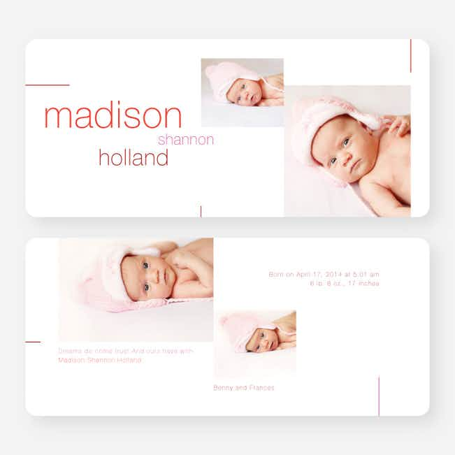 Lines Birth Announcements - Pink