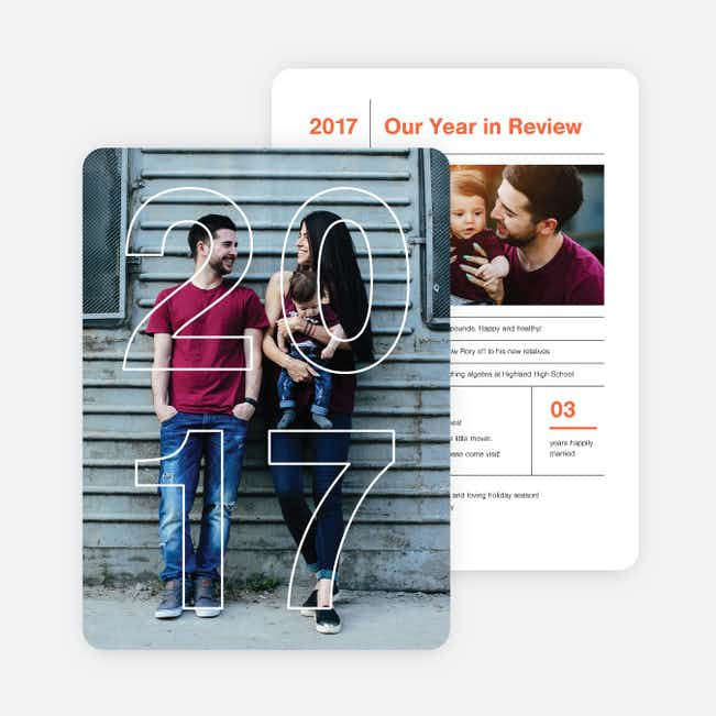 2017 Infographic Holiday Photo Cards - Red