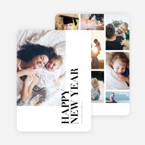 photo grid new year cards black