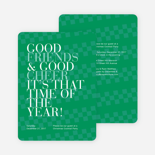 Good Friends Good Cheer Holiday Party Invitations Paper Culture