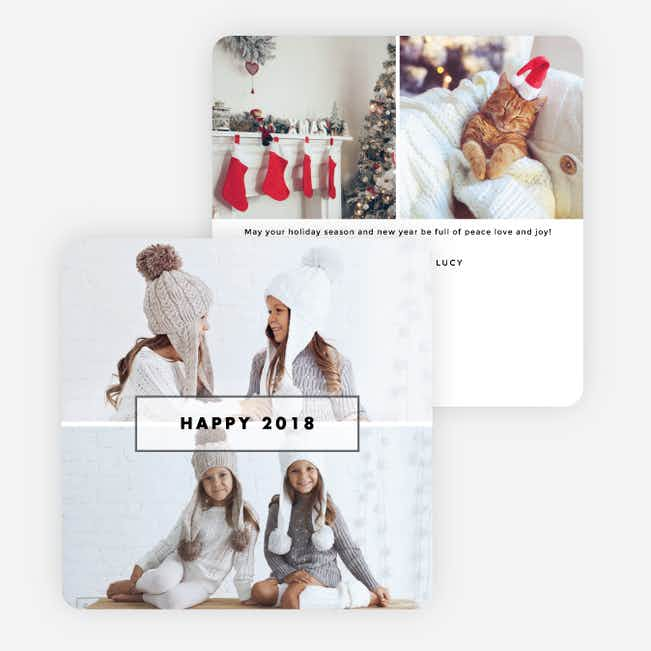 Photo Border New Year Cards - White