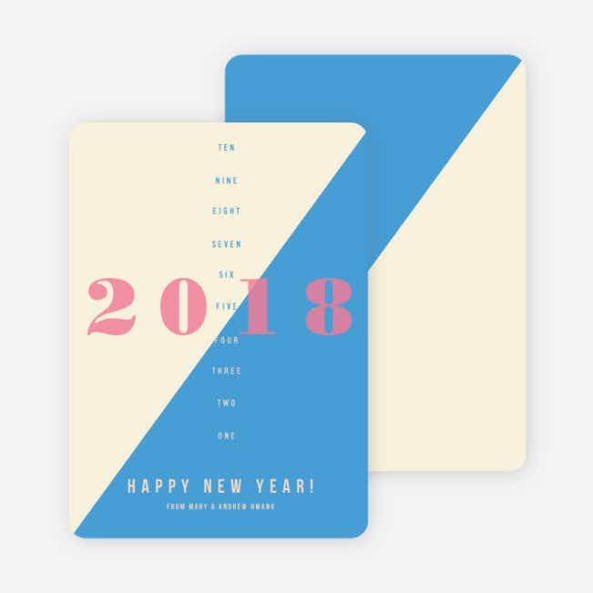 Countdown to the New Year Holiday Cards - Blue