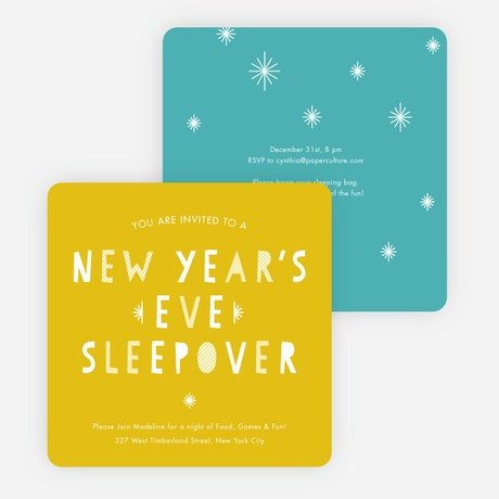 New Years Eve Sleepover Party Invitations – Sleepover Party Invitations