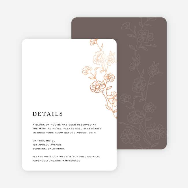 Elegant Roses Wedding Information Cards - Brown