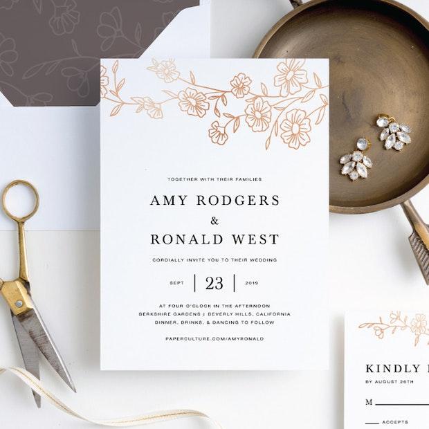 Elegant Roses Wedding Invitation Suites   Paper Culture