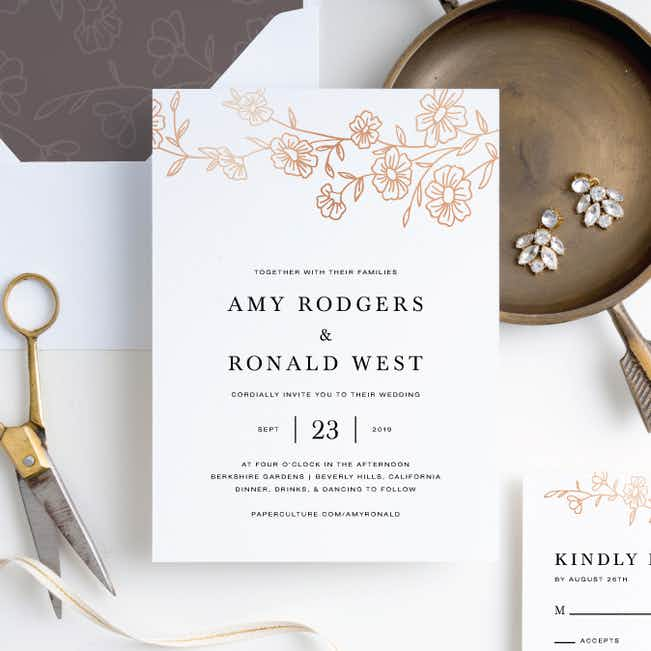 Elegant Roses Wedding Invitation Suites - Brown