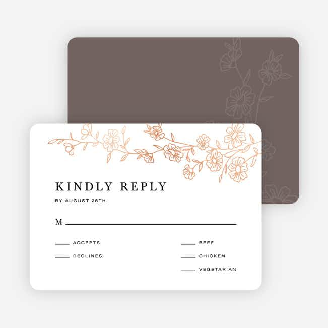 Elegant Roses Wedding Response Cards - Brown