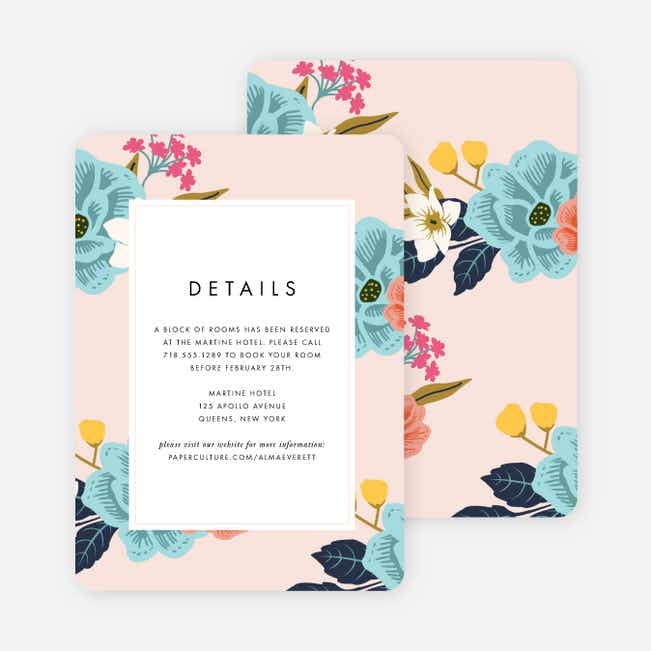 Floral Patterns Wedding Information Cards - Pink