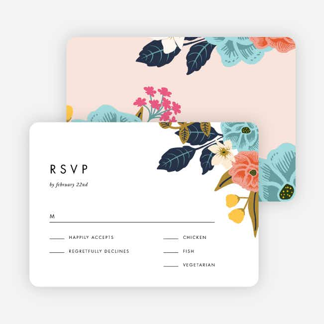 Floral Patterns Wedding Response Cards - Pink