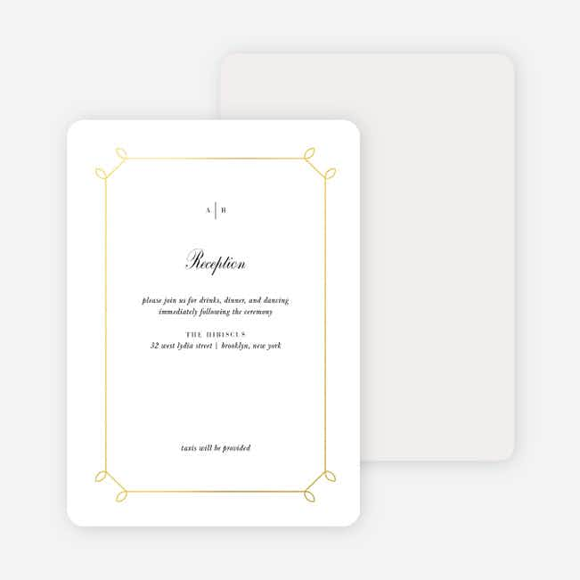 Foil Elegant Scroll Wedding Information Cards - Yellow